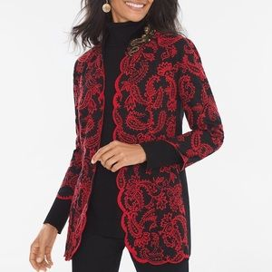 Chico's Collectibles Red Black Embroidered Jacket
